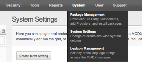 MODX : System > System Settings